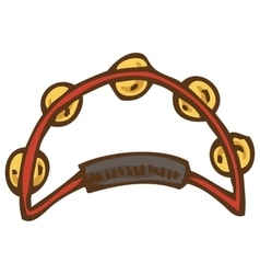 Red tambourine with jingles vector