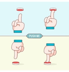 Button with hands flat design thin line style vector