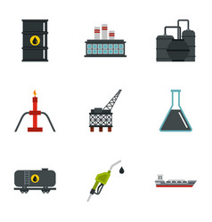 oil and petroleum icons set flat style vector image