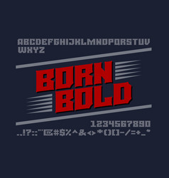 Bold serif typeface uppercase letters numbers vector