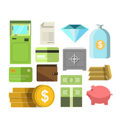 Money in cash and other precious savers poster on vector