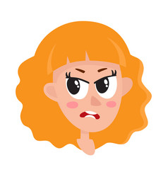 Pretty blonde hair woman angry facial expression vector