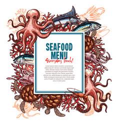 Menu for seafood or fish food restaurant vector