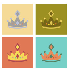 Assembly flat icons poker crown royal vector