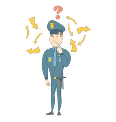 Young caucasian policeman with question mark vector