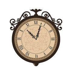 Forging retro clock with vignette arrows isolated vector