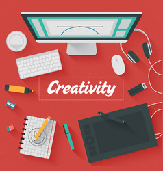 Trendy Flat Design Creativity vector image