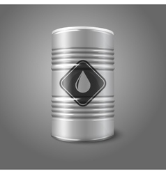 Realistic big oil barrel with sign isolated on vector