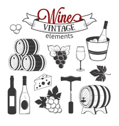 Ellegant wine set of vintage elements isolated on vector