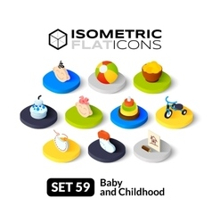 Isometric flat icons set 59 vector