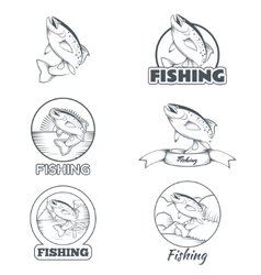 Set of trout banners vector