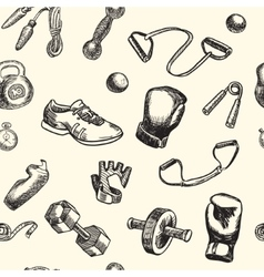 Fitness and gym doodle hand drawn pattern vector image