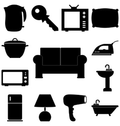 Home pieces signs set flat style vector