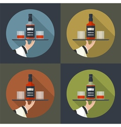 Whiskey bottle with two glasses vector