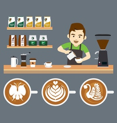 Barista pouring latte art vector