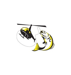 Barramundi Heli Fishing Retro vector image vector image