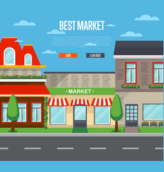 best market banner in flat design vector image