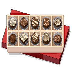 Box of chocolate with red lid vector