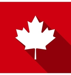 Canadian Maple Leaf flat icon with long shadow vector image