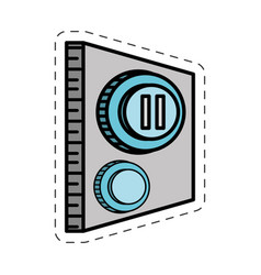 Cartoon button pause control image vector