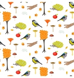 Cute cartoon forest seamless pattern with birds vector