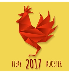 Fiery Rooster in Paper origami style vector image vector image