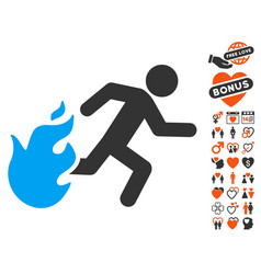 Fired running man icon with valentine bonus vector