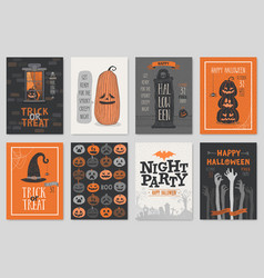 Halloween hand drawn invitation or greeting cards vector