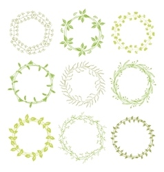 Hand drawn green floral wreaths vector image vector image