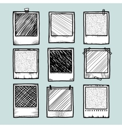 Hand drawn vintage photo frame doodle set vector image vector image