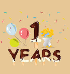 happy first birthday anniversary card vector image