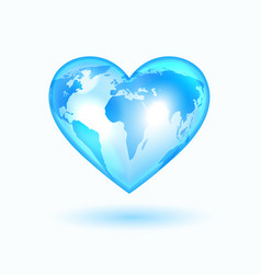Heart with the world map vector