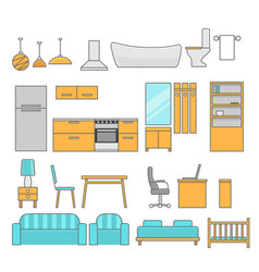 Interiors room with furniture flat style vector