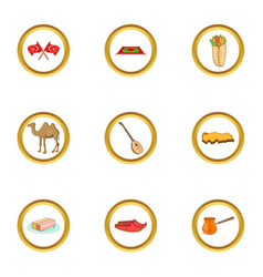 Istanbul culture icons set cartoon style vector
