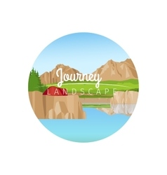 Journey landscape circle icon vector image vector image
