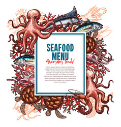 menu for seafood or fish food restaurant vector image vector image