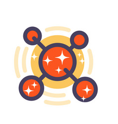 molecule icon in flat style with outline vector image