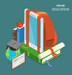 Online education flat isometric low poly concept vector