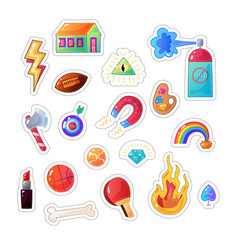 sarcastic modern colorful sticker set fashion vector image vector image