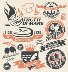 Seafood and fish icons signs symbols and logos vector image