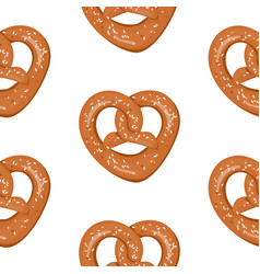 seamless pattern with hand drawn pretzels vector image vector image