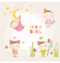 Set of baby girl - for baby shower or arrival card vector