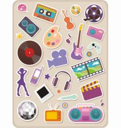 Set of entertainment stickers vector