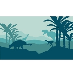 Silhouette of eoraptor and ankylosaurus vector image vector image