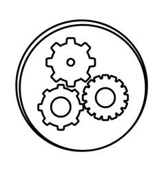 silhouette symbol gears icon vector image vector image