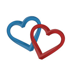 Two hearts blue and red on white background vector