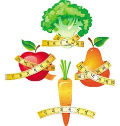 Vegetable with measuring tape vector