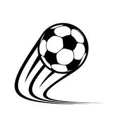 Zooming soccer ball flying through the air vector image