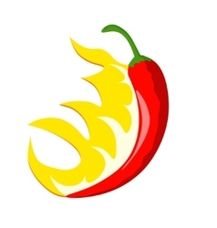 Hot chili pepper with flames vector