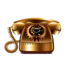 Steampunk retro phone isolated vector